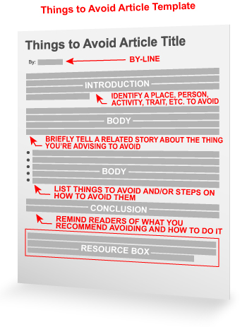 Things To Avoid Article Template